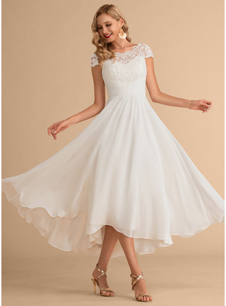 A-Line Scoop Neck Asymmetrical Chiffon Wedding Dress