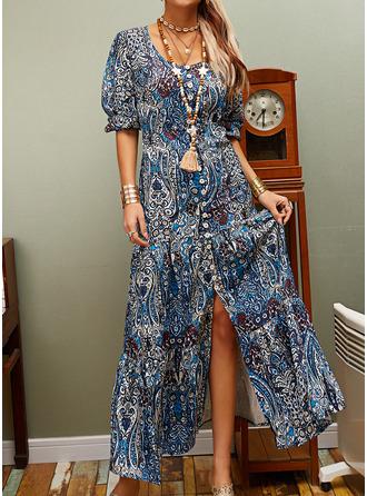 Floral Print Shift V-Neck 3/4 Sleeves Maxi Boho Casual Vacation Dresses