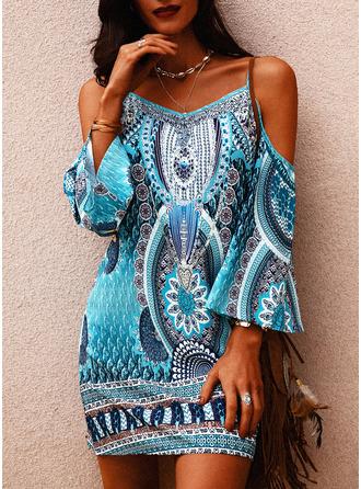 Print Shift Cold Shoulder Long Sleeves Midi Boho Casual Vacation Tunic Dresses