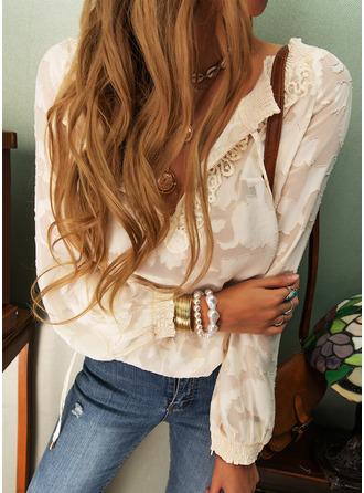 Regular Cotton Blends V-Neck Lace Solid 3XL L S M XL XXL Blouses