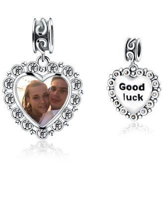 personlig Bilde Dingle Inngravert Perler med hjerte - Valentines Gaver