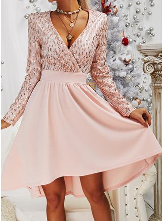 paljetter A-line kjole V-hals Lange ermer Midi Elegant Party skater Motekjoler