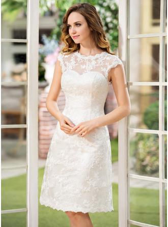 A-Line Scoop Neck Knee-Length Lace Wedding Dress