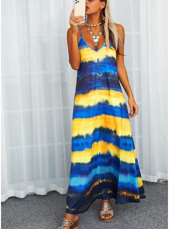 Striped Shift Spaghetti Straps Sleeveless Maxi Casual Type Dresses
