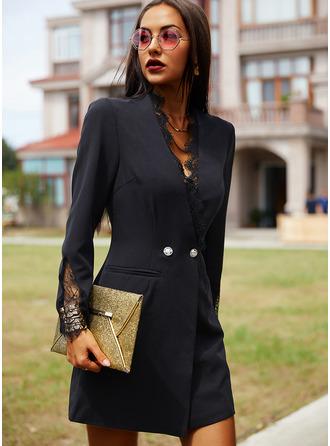 Lace Solid Bodycon V-Neck Long Sleeves Midi Elegant Little Black Dresses
