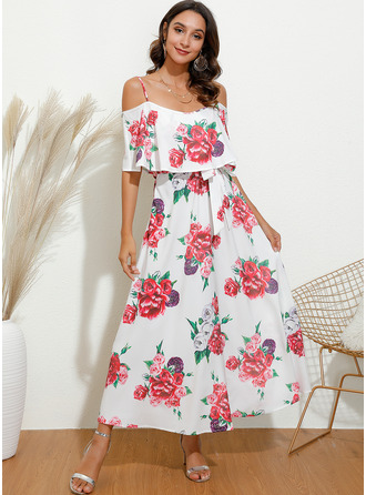 Blomstrete Trykk A-line kjole Kald skulder 1/2-ermer Midi Avslappet Elegant skater Motekjoler