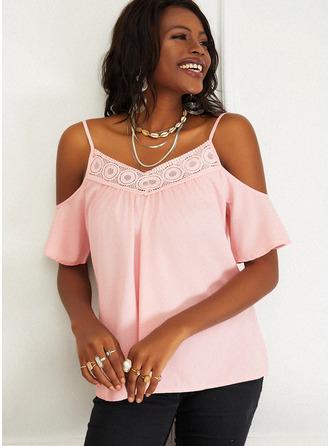 Regular Cotton Blends Cold Shoulder Lace Solid Fitted Blouses