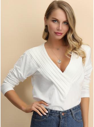 Regular Cotton Blends V-Neck Solid Knit Blouses