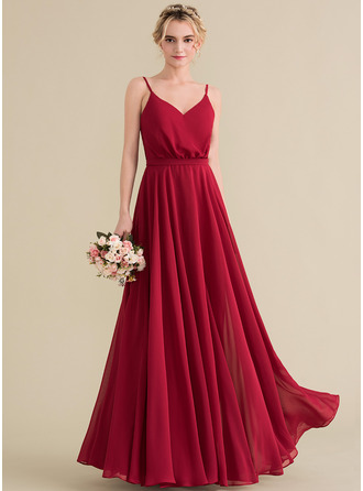V-neck Floor-Length Chiffon Bridesmaid Dress With Bow(s)