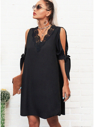 Lace Solid Shift Cold Shoulder 1/2 Sleeves Split Sleeve Midi Casual Little Black Tunic Dresses