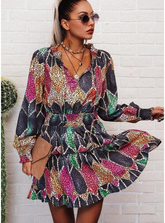 Leopard Geometric Print A-line V-Neck Long Sleeves Lantern Sleeve Midi Casual Skater Dresses