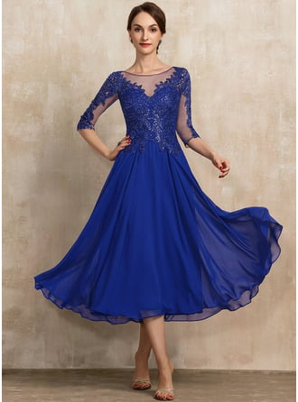 A-Line Scoop Neck Tea-Length Chiffon Lace Cocktail Dress With Sequins