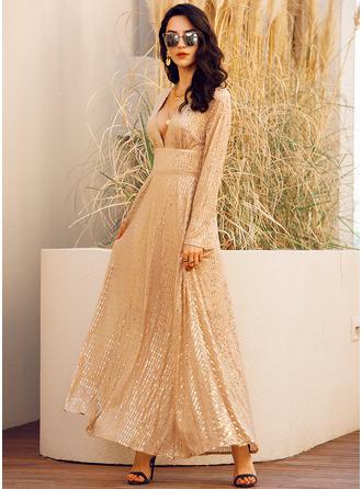 Sequins Solid V-Neck Long Sleeves Maxi Dresses