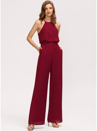 Jumpsuit/Pantsuit Scoop Neck Floor-Length Chiffon Bridesmaid Dress With Pockets