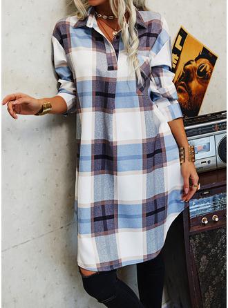 Plaid Shift Shirt collar Long Sleeves Midi Casual Shirt Dresses