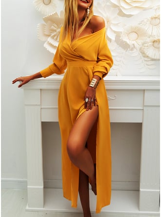 Solid V-Neck Long Sleeves Midi Dresses