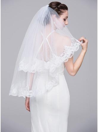 Two-tier Lace Applique Edge Elbow Bridal Veils With Applique