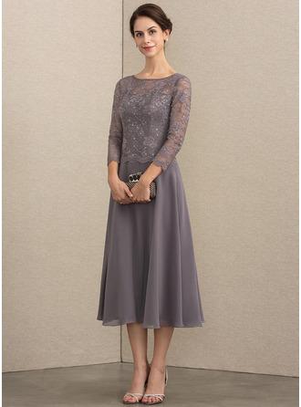A-Line Scoop Neck Tea-Length Chiffon Lace Cocktail Dress With Sequins