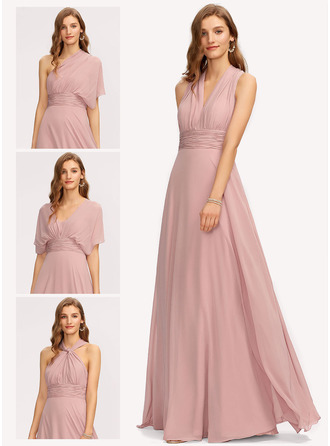 V-Neck One Shoulder Halter Sleeveless Maxi Dresses