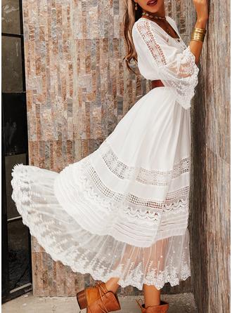 Blonder Solid A-line kjole Rund hals Trekvart ermer Slengerme Maxi Elegant skater Motekjoler