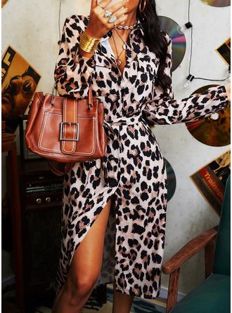 Leopard A-line kjole Skjortekrage Lange ermer Midi Avslappet Skjorte skater Motekjoler