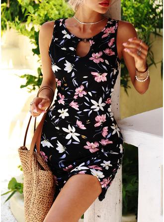 Floral Print Shift Round Neck Sleeveless Midi Casual Vacation Tank Dresses