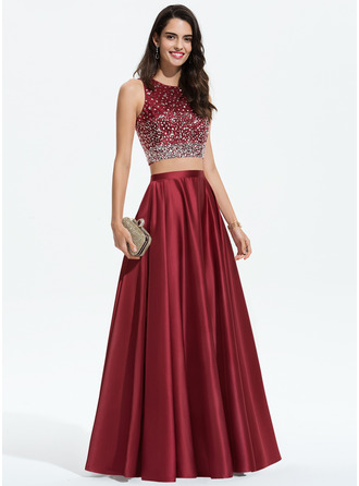 A-Line Scoop Neck Floor-Length Satin Prom Dresses With Beading Sequins