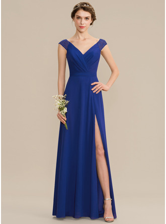 V-neck Floor-Length Chiffon Lace Bridesmaid Dress With Ruffle Split Front