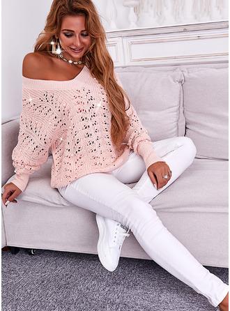 V-Neck Long Sleeves Regular Solid Casual Pullovers