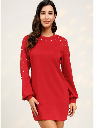 Solid Round Neck Long Sleeves Midi Dresses
