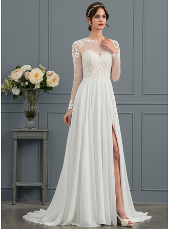 A-Line Illusion Sweep Train Chiffon Wedding Dress With Appliques Lace Split Front