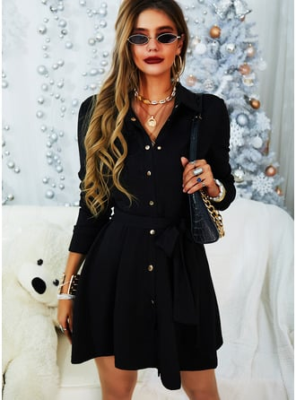 Solid A-line Shirt collar Long Sleeves Midi Casual Elegant Little Black Shirt Skater Dresses