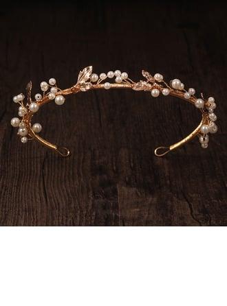 Ladies Beautiful Alloy/Imitation Pearls Tiaras (Sold in single piece)