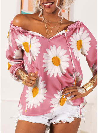 Regular Polyester Off the Shoulder Floral Print 3XL L S M XL XXL Blouses