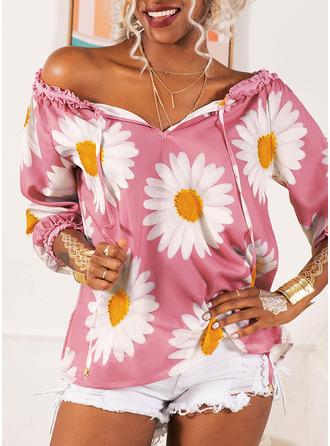 Regelmessig Polyester Bare skuldre Blomstrete Trykk 3XL L S M XL XXL Bluser