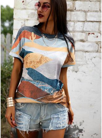 Regular Polyester Round Neck Print 3XL L S M XL XXL Blouses