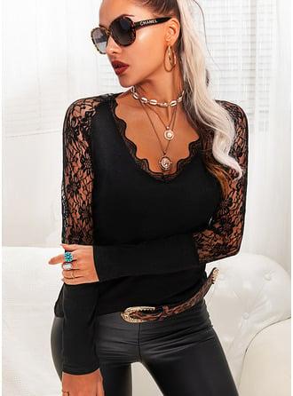 Regelmessig Bomullsblanding V-hals Blonder Solid Stramt Bluser