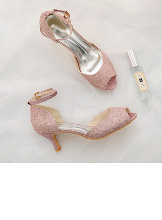 Women's Sparkling Glitter Stiletto Heel Peep Toe Pumps With Buckle