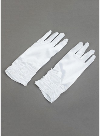 Elastic Satin With Sequin Wrist Length Glove