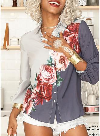 Regular Polyester V-Neck Floral Print 3XL L S M XL XXL Blouses