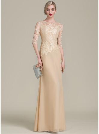 Sheath/Column Scoop Neck Floor-Length Chiffon Lace Evening Dress