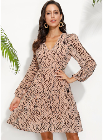 Print V-Neck Long Sleeves Midi Dresses