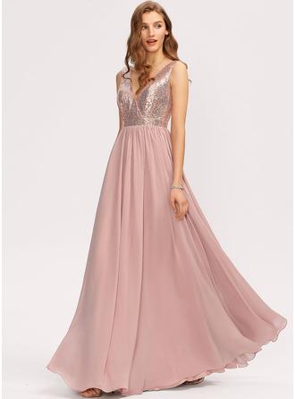 V-Neck Sleeveless Maxi Dresses