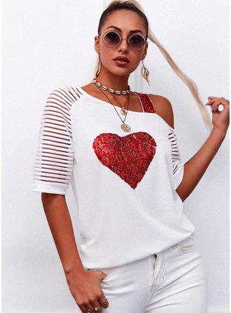 Regular Cotton Blends One Shoulder Sequins Heart Fitted Blouses