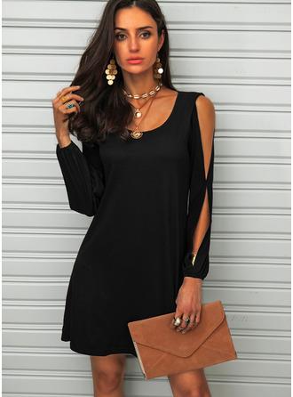 Solid Shift Round Neck Cold Shoulder Sleeve Midi Casual Little Black Dresses