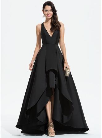 A-Line V-neck Asymmetrical Satin Evening Dress With Cascading Ruffles