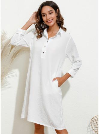 Solid Shirt collar Long Sleeves Midi Dresses