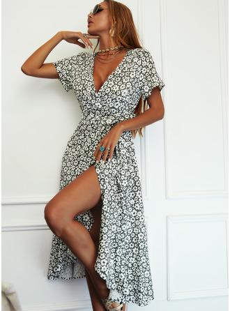 Blomstrete Trykk A-line kjole V-hals Kortermer Midi Avslappet Elegant skater Wrap Motekjoler