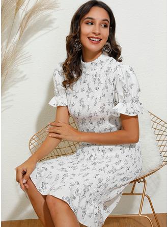 Print Bodycon High Neck Short Sleeves Puff Sleeves Midi Elegant Pencil Dresses