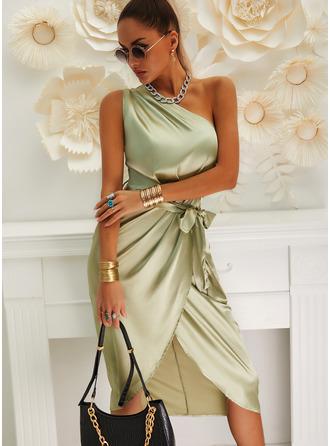 Solid Sheath One Shoulder Sleeveless Midi Party Dresses